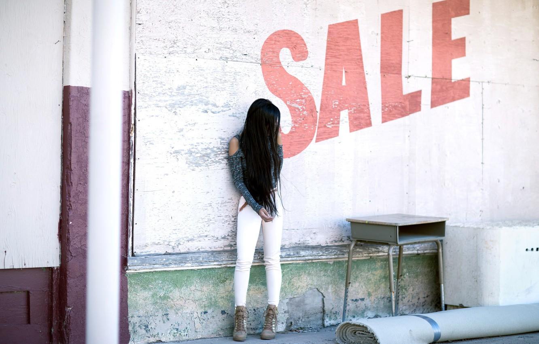 Photo wallpaper girl, street, selling