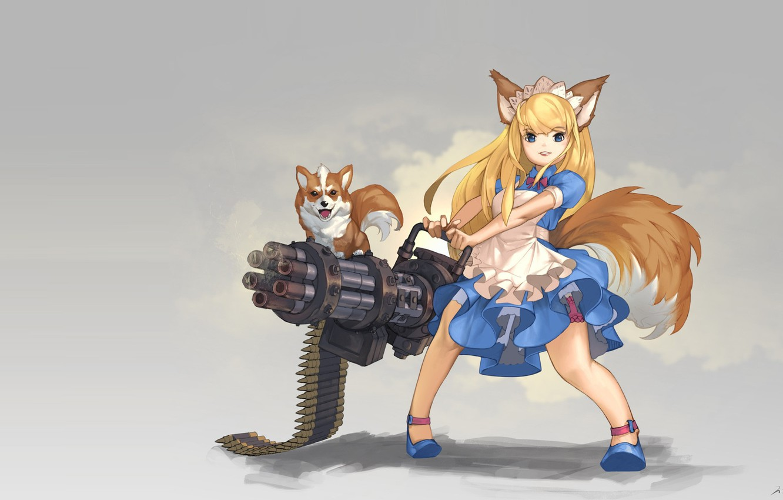 Photo wallpaper weapons, dog, anime, art, girl, ears, hinew KIM, Gatling Dog!