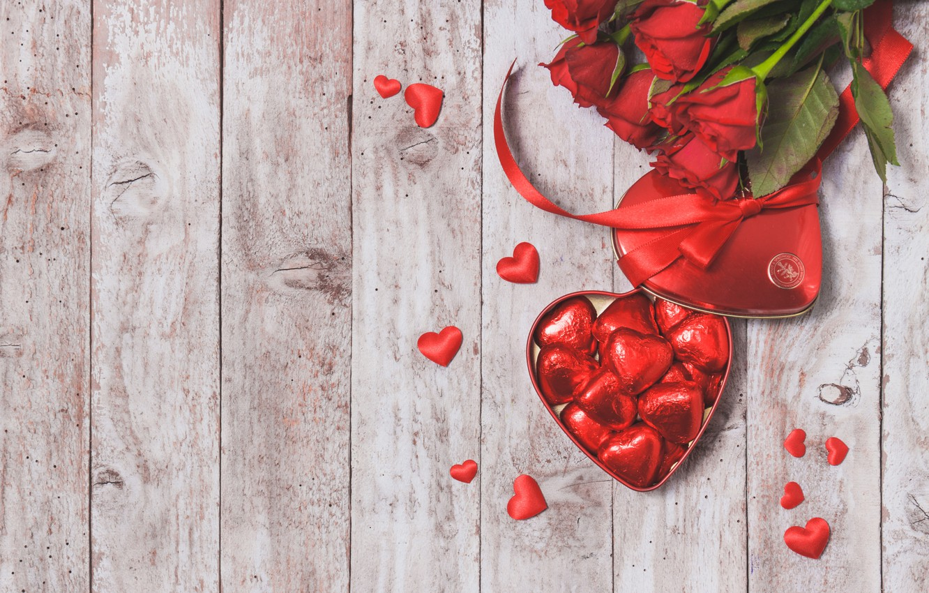 Photo wallpaper chocolate, candy, hearts, red, love, heart, romantic, gift, roses, red roses, valentine`s day