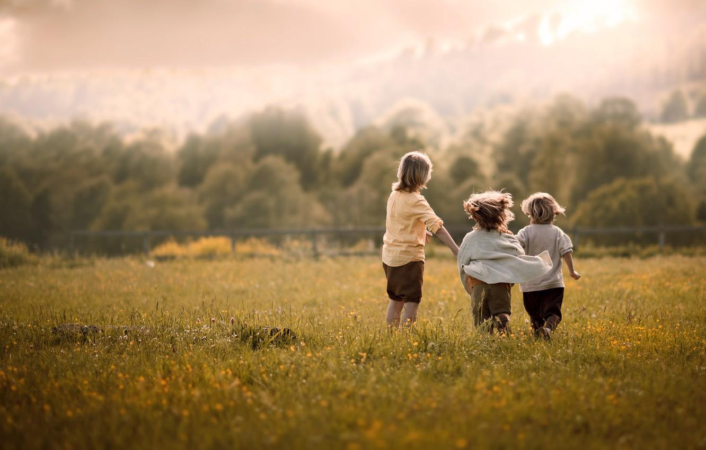 Photo wallpaper field, summer, clouds, nature, children, childhood, mood, boy, village, meadow, friendship, three, three, boys, former, …