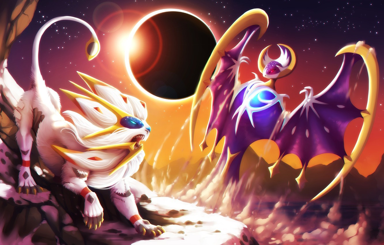 Wallpaper Moon Game Wings Lion Dust Fight Pokemon Pokemon