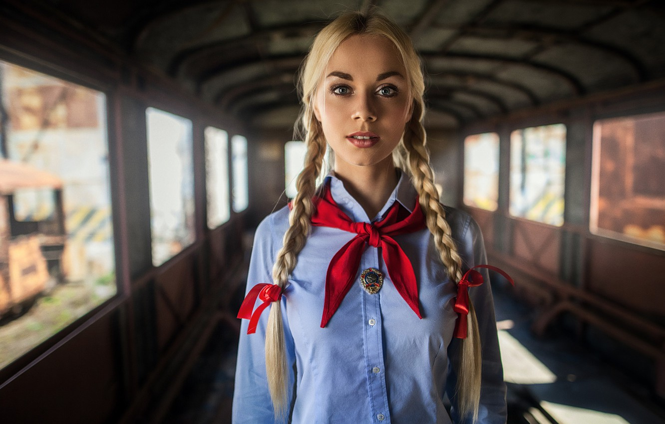 Photo wallpaper look, girl, red, icon, portrait, makeup, hairstyle, blonde, tie, braids, shirt