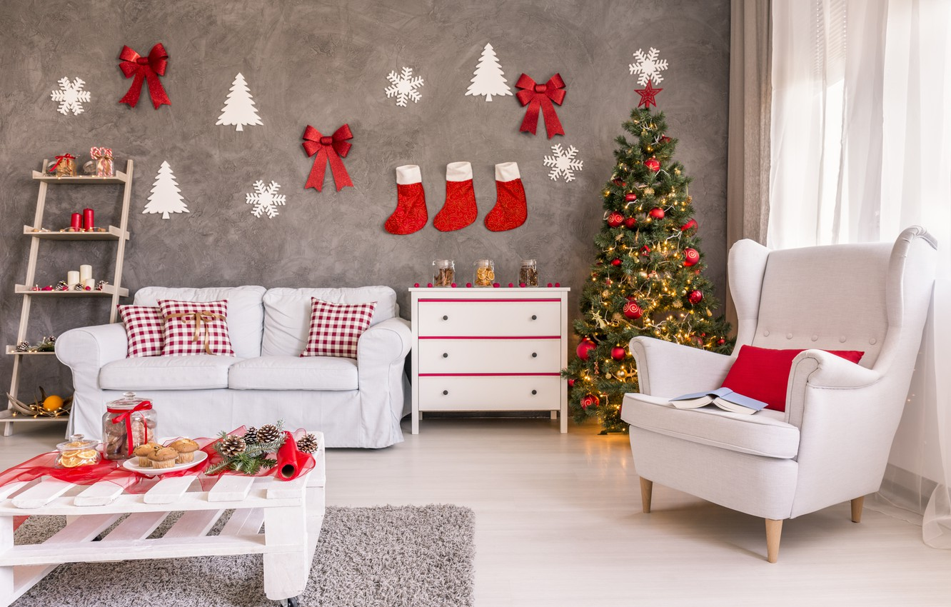 Photo wallpaper decoration, toys, tree, New Year, Christmas, gifts, Christmas, design, Merry Christmas, Xmas, interior, home, decoration, …