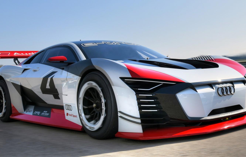 Photo wallpaper Audi, racing car, Vision, racing track, 2018, Gran Turismo, E-Tron