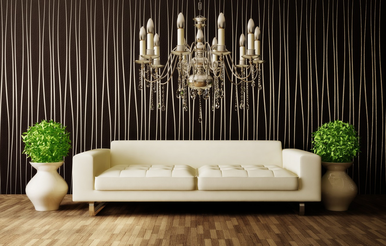 Photo wallpaper flowers, sofa, interior, chandelier, vases, room, interior, modern