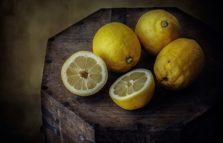 Photo wallpaper macro, chest, citrus, halves, lemons