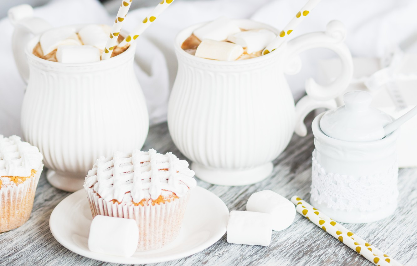 Photo wallpaper decoration, drink, cream, cakes, cupcakes, cocoa, marshmallow
