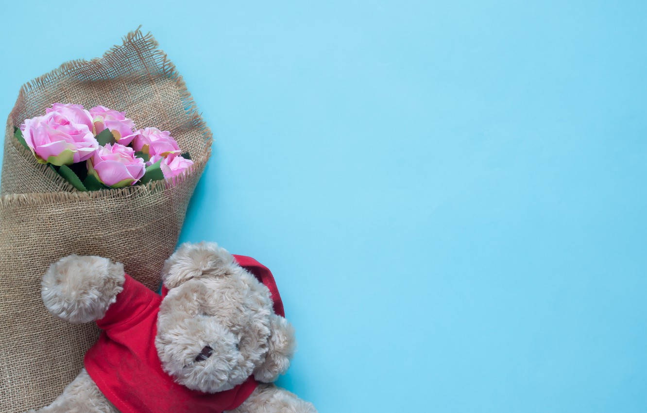 Wallpaper Toy Roses Bear Love Bear Pink Romantic Teddy