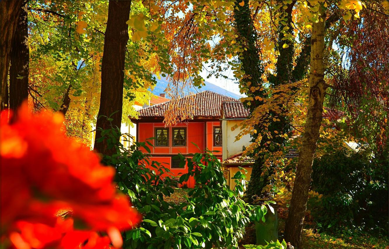 Photo wallpaper Autumn, House, House, Fall, Autumn