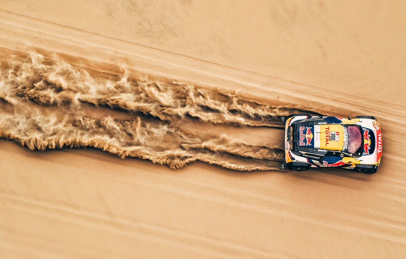Photo wallpaper Sand, Auto, Sport, Machine, Speed, Race, Top, Peugeot, Lights, Red Bull, The view from the …