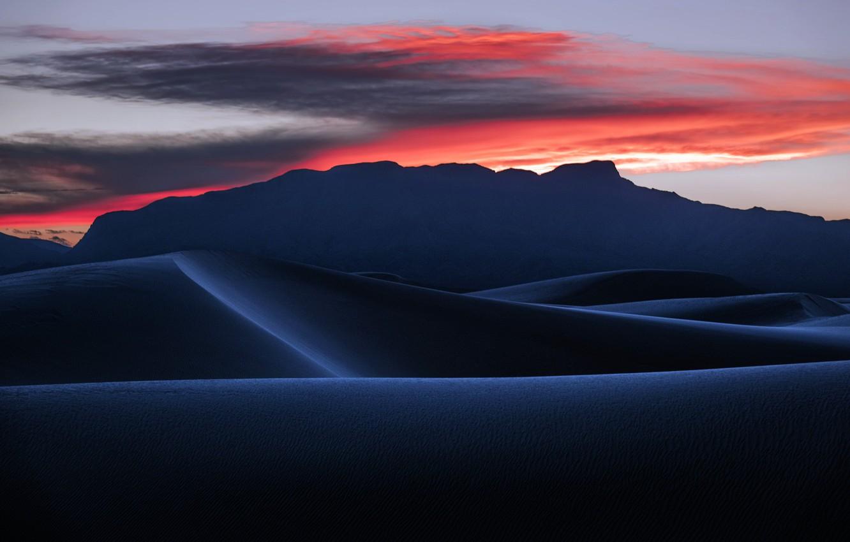 Photo wallpaper sunset, desert, dunes