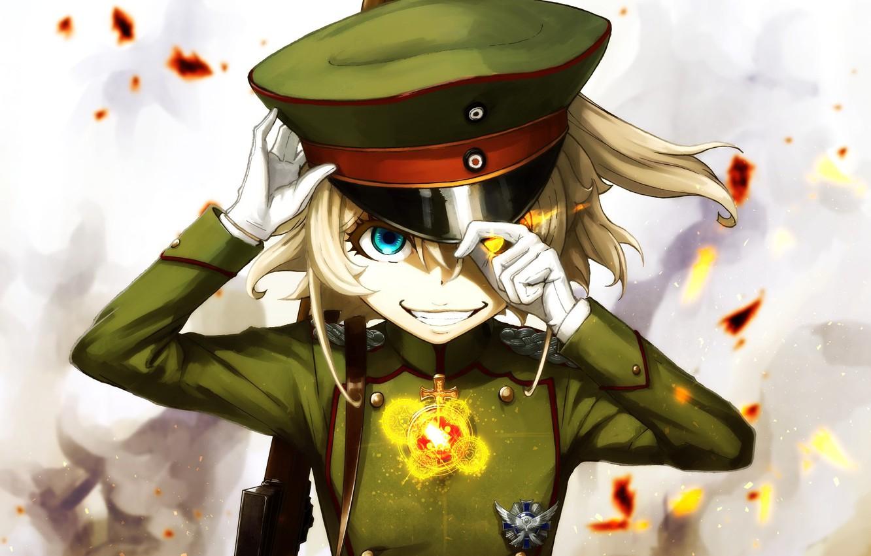 Photo wallpaper girl, soldier, military, war, anime, chibi, cap, blonde, asian, manga, oriental, asiatic, powerful, strong, uniform, …