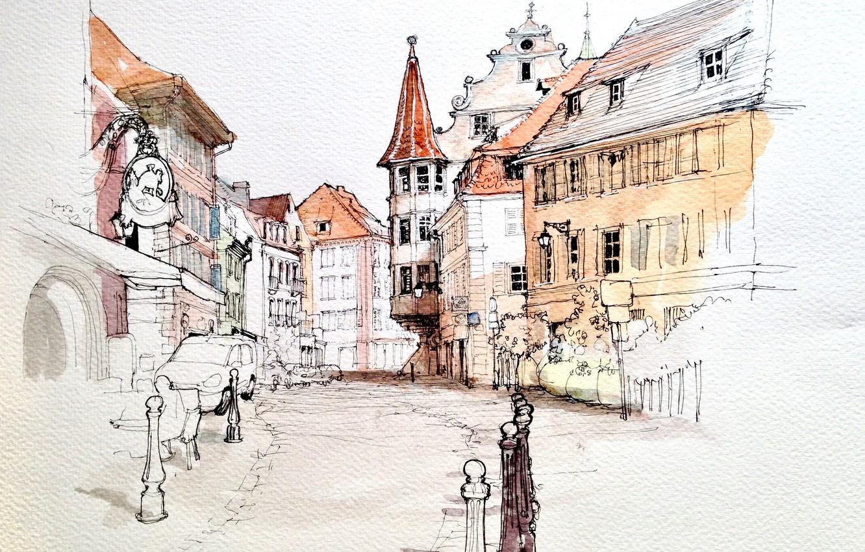 Photo wallpaper the city, figure, France, home, watercolor, Colmar
