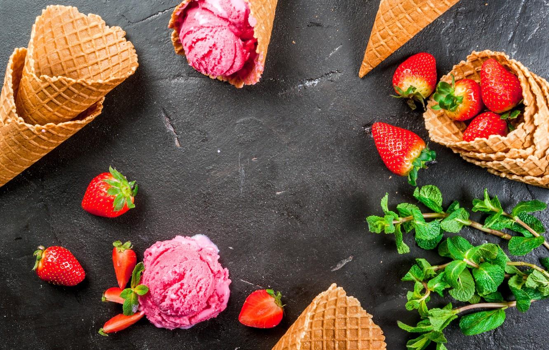 Photo wallpaper berries, strawberry, ice cream, horn, mint, dessert, wafer, strawberry, ice cream
