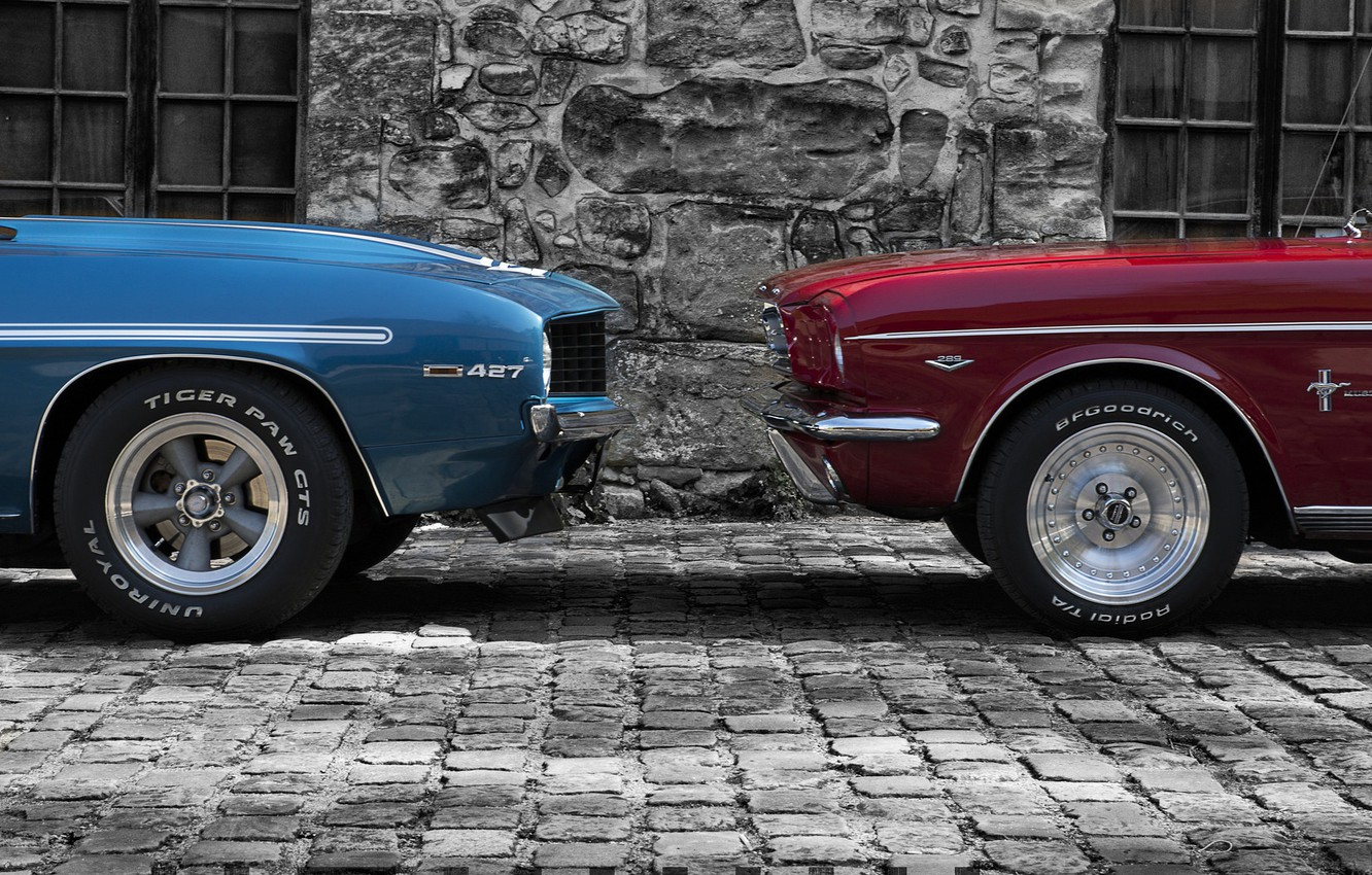 Photo wallpaper two, Ford, mustang, Chevrolet, Camaro, muzzle