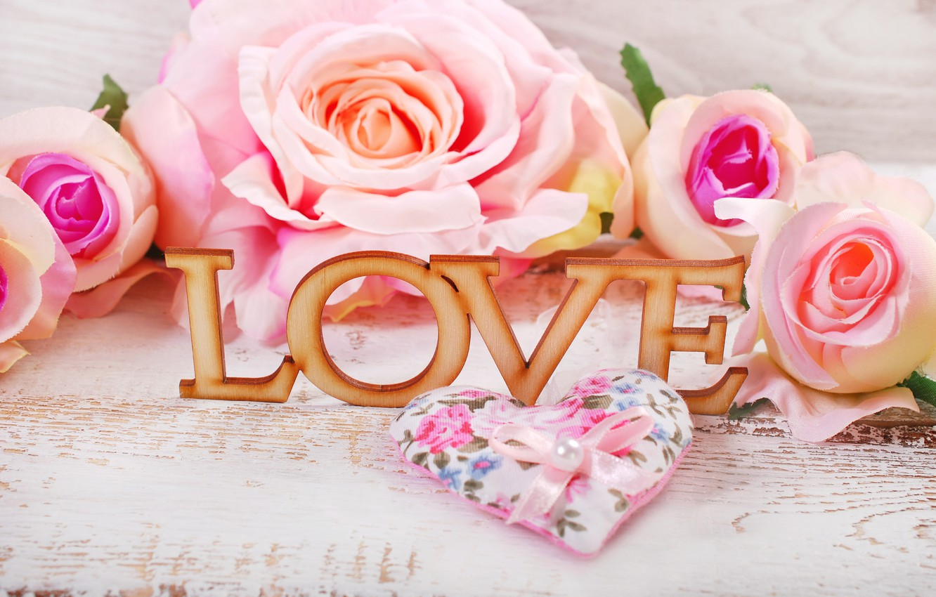 Photo wallpaper roses, hearts, love, heart, pink, flowers, romantic,