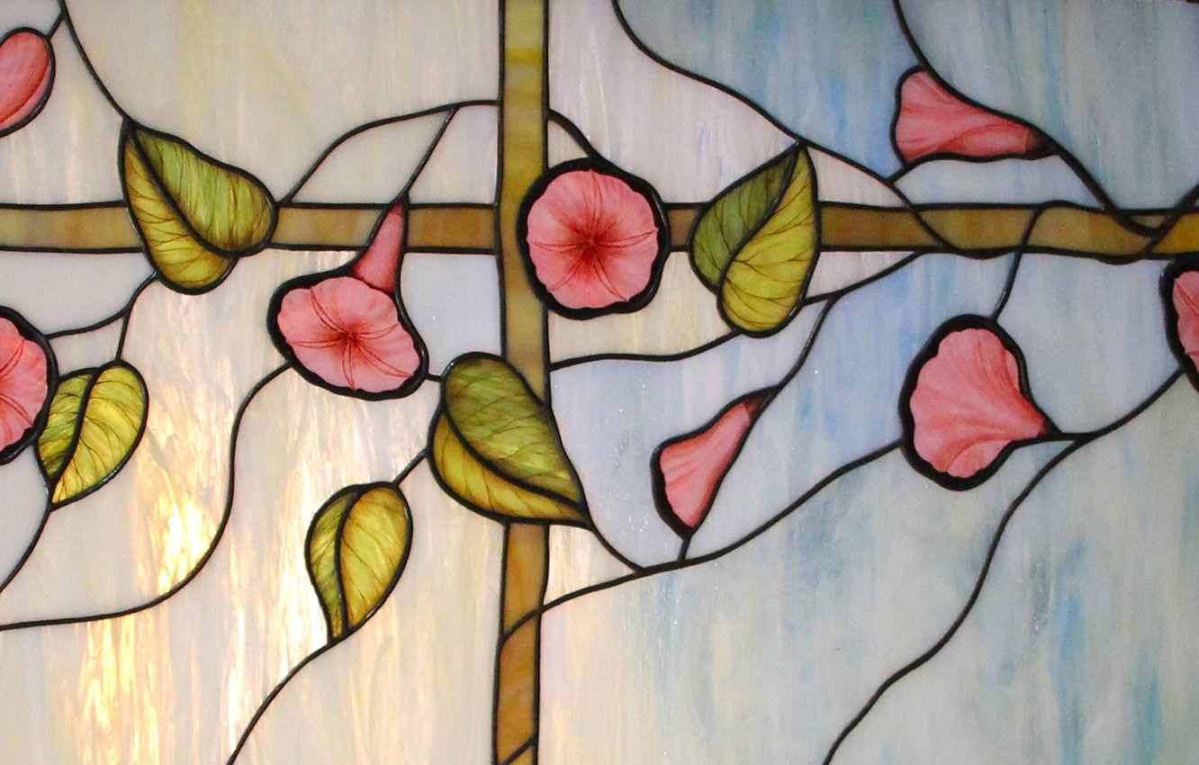 Photo wallpaper glare, background, texture, stained glass, yunki, floral ornament, stained glass film
