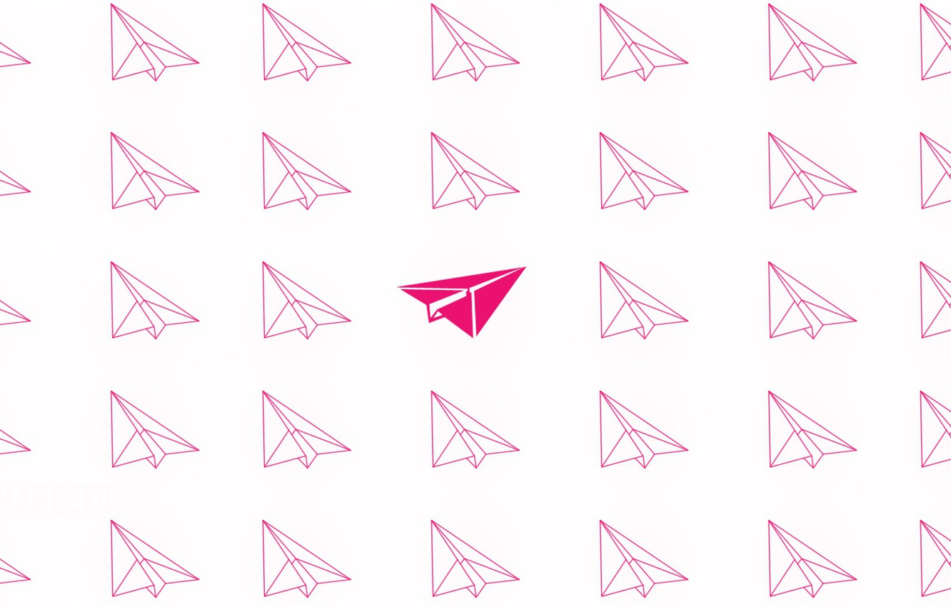 Photo wallpaper pink, minimalism, flies, minimalism, flying, pink, airplanes, airplanes, Paper airplanes, Paper airplanes