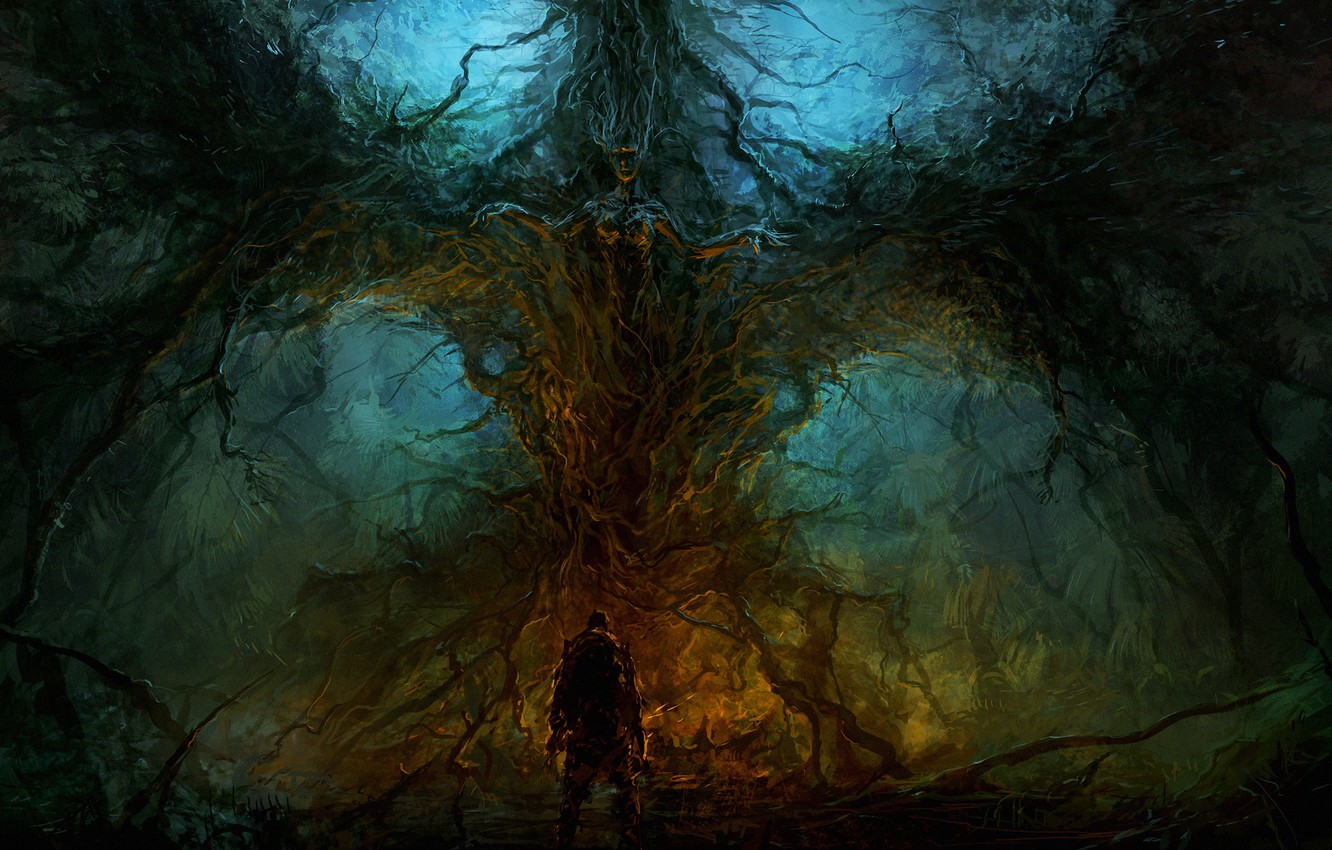 Photo wallpaper dark, nature, creepy, ChrisCold, creature, Wallhalla, everyoung