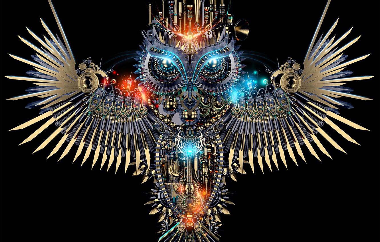 Photo wallpaper background, owl, bird, mechanism