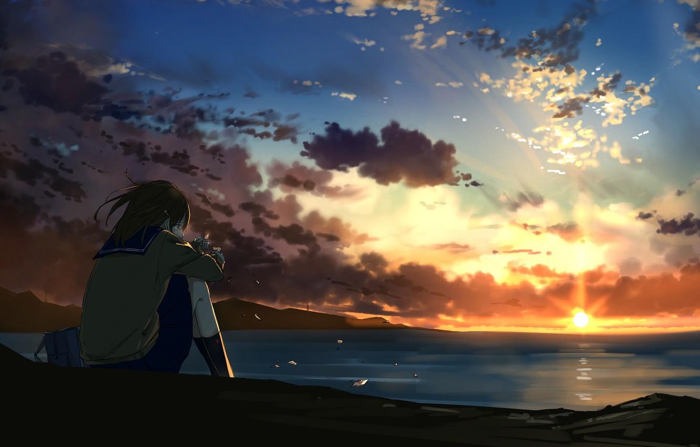 Photo wallpaper sunset, anime, art, girl, sitting