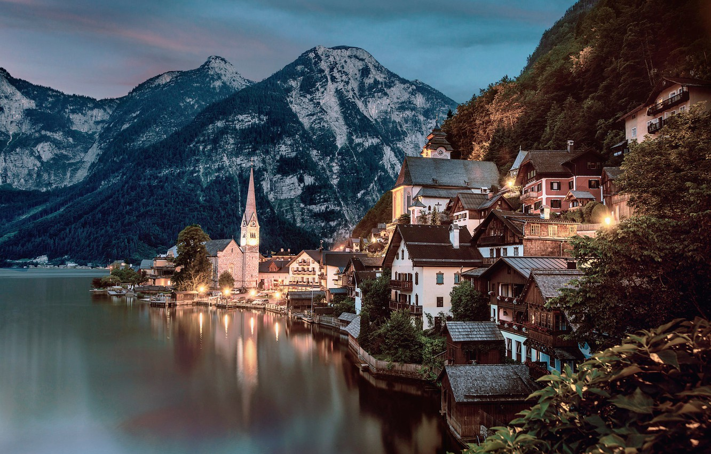 Обои tree, water, mountain, austria, hallstatt, light. Города foto 6