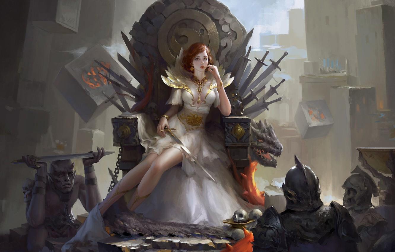 Photo wallpaper look, girl, fantasy, art, chain, swords, warriors, the throne, skeletons