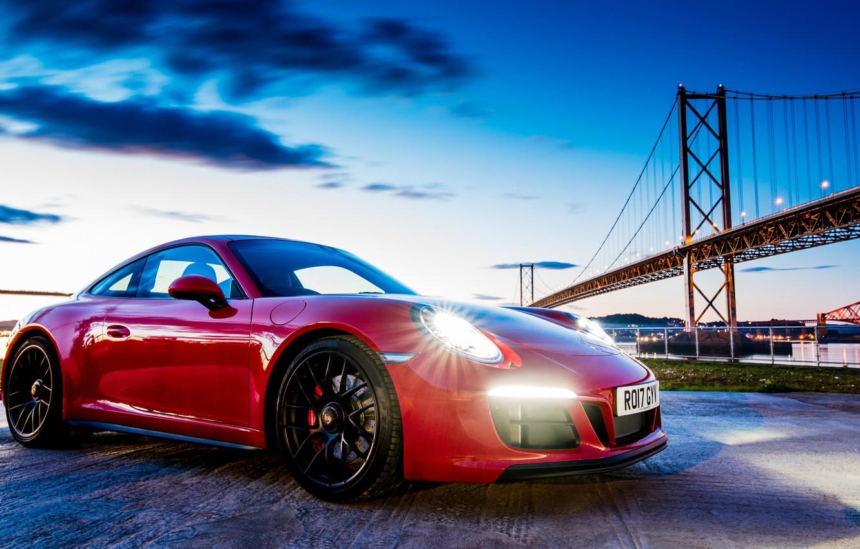 Photo wallpaper bridge, the evening, 911, Porsche, Coupe, Carrera, GTS, 2017