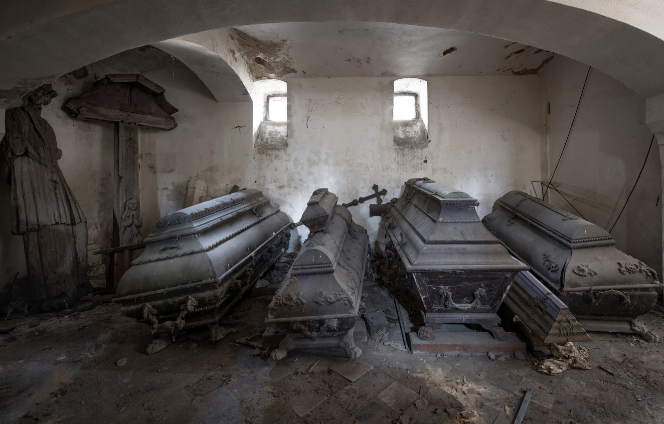 Photo wallpaper cemetery, the crypt, coffins