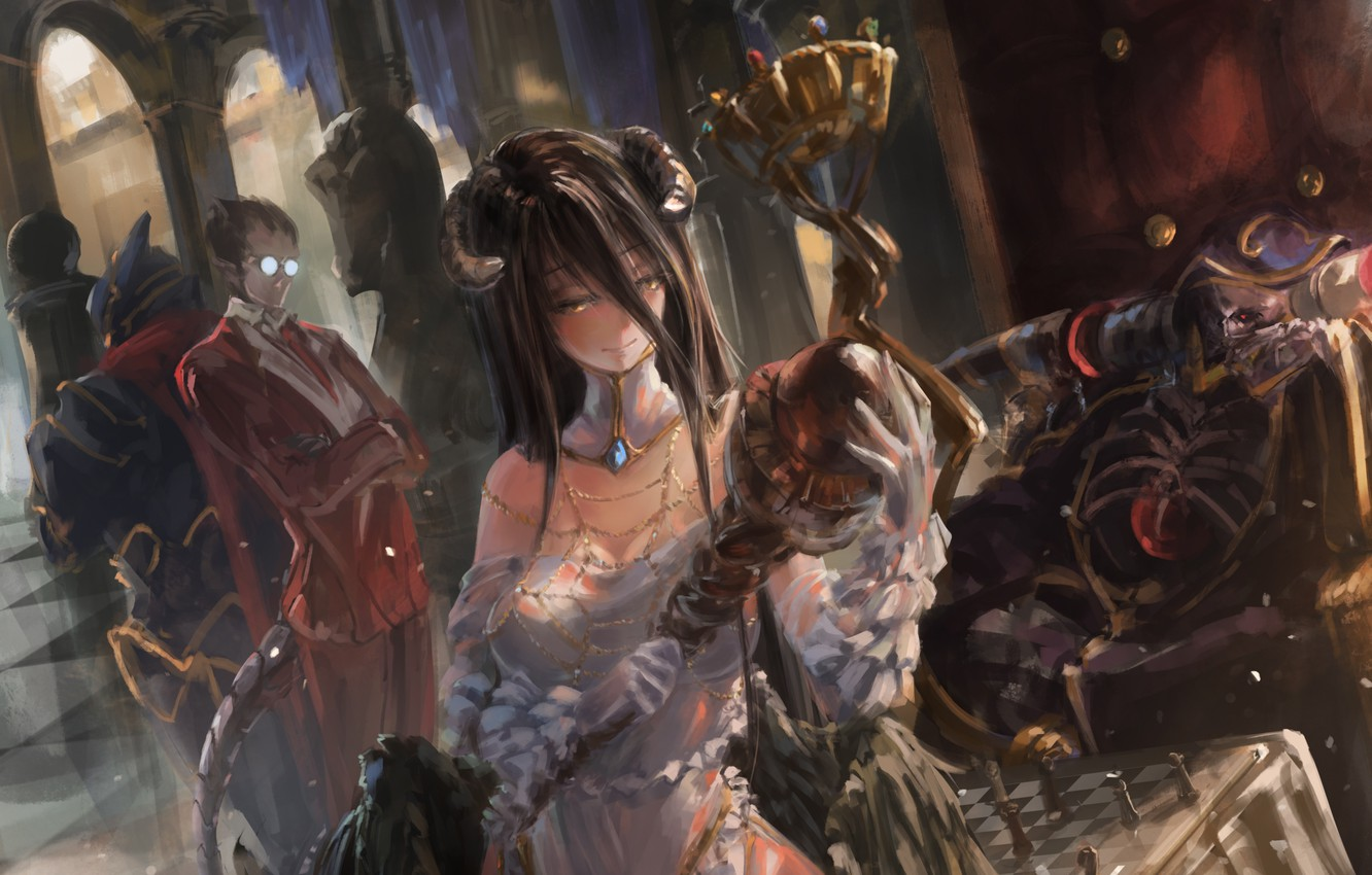 Wallpaper Girl Smile Wings Anime Art Glasses Horns Male Albedo Overlord Song Ren Ainz Ooal Gown Demiu Images For Desktop Section Sejnen Download