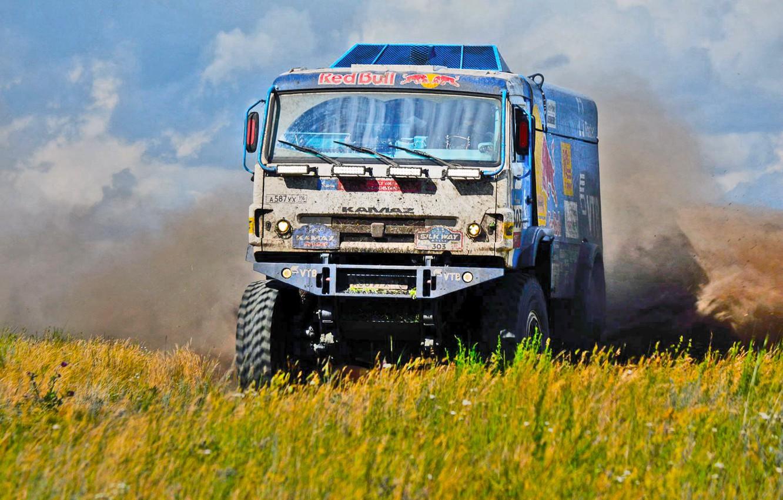 Photo wallpaper Field, Grass, Dust, Sport, Speed, Race, Master, Dirt, Russia, Kamaz, Rally, Rally, KAMAZ, Master, Silk …