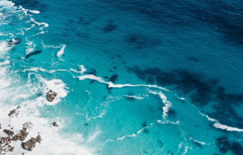 Photo wallpaper sea, wave, stones, drone