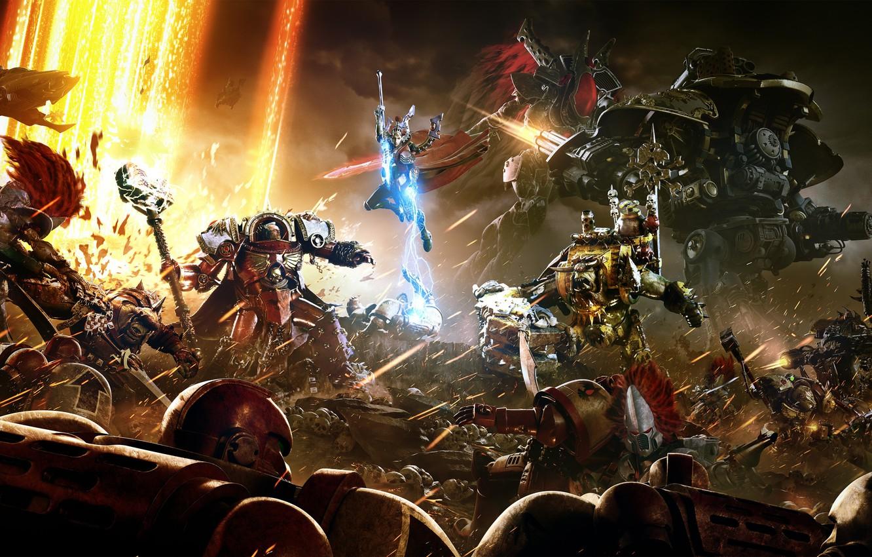 Photo wallpaper Army, Warhammer, Armor, Minigun, Equipment, Sega, Relic Entertainment, Minigun, Mech, Warhammer 40 000: Dawn of …