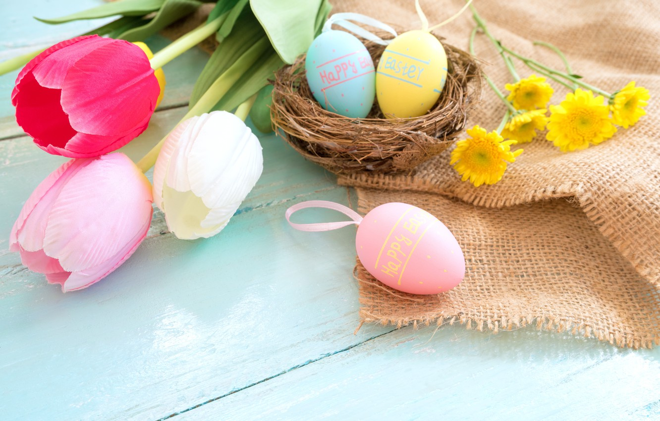 Photo wallpaper flowers, basket, eggs, spring, colorful, Easter, tulips, wood, pink, flowers, tulips, spring, Easter, eggs, decoration, …