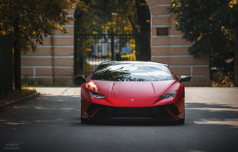 Photo wallpaper Lamborghini, Front, autumn, RED, Huracan