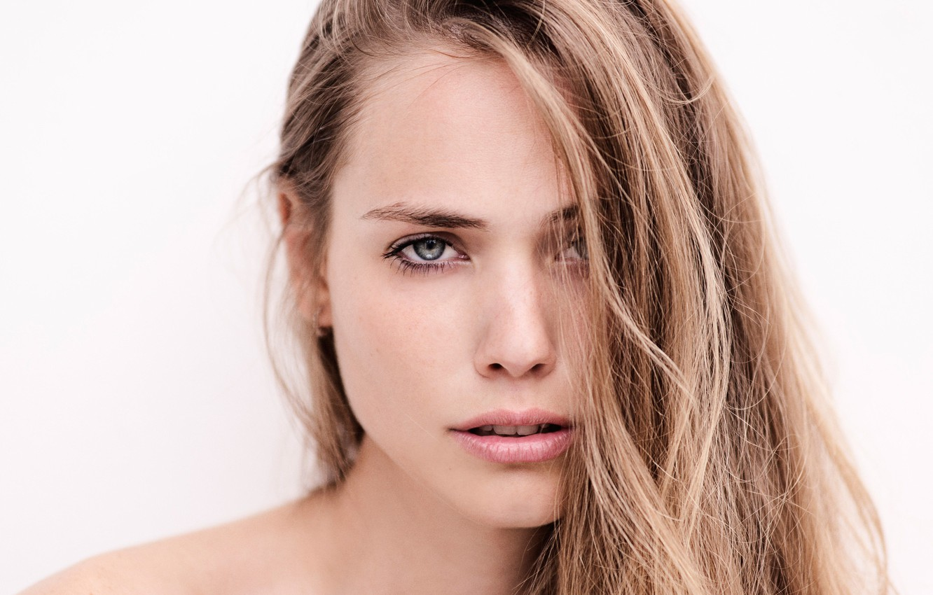 Photo wallpaper look, close-up, face, model, portrait, makeup, hairstyle, white background, beauty, brown hair
