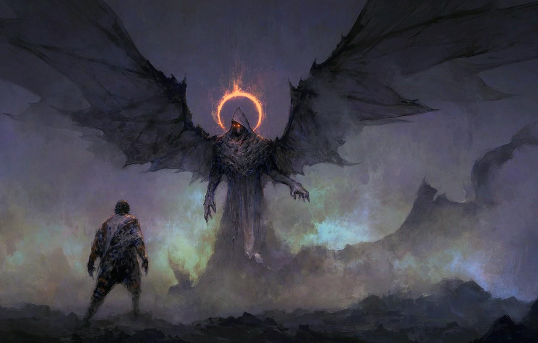 Wallpaper Dark Fantasy Wings Red Eyes Man Digital Art