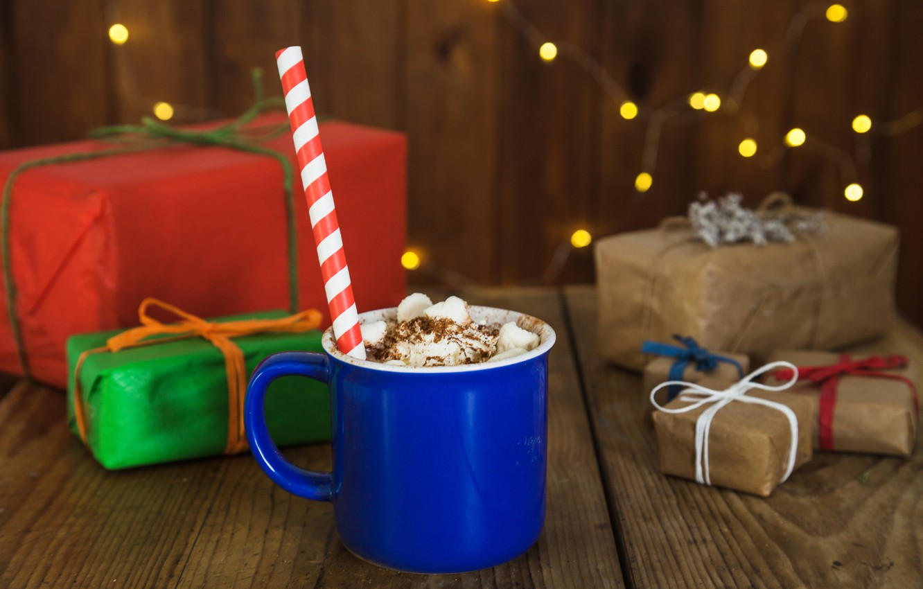Photo wallpaper holiday, gifts, drink