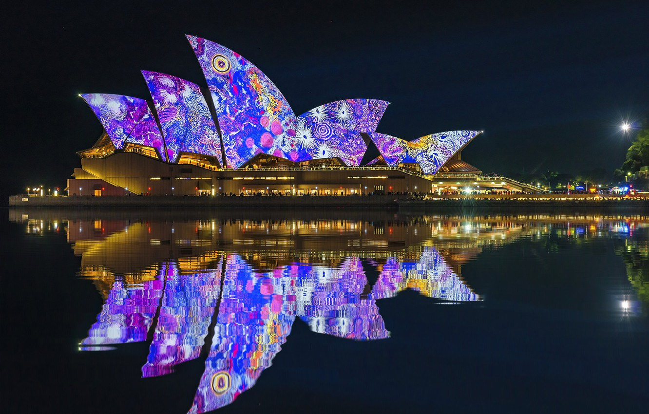 Photo wallpaper night lights, Sydney, night city, Australia