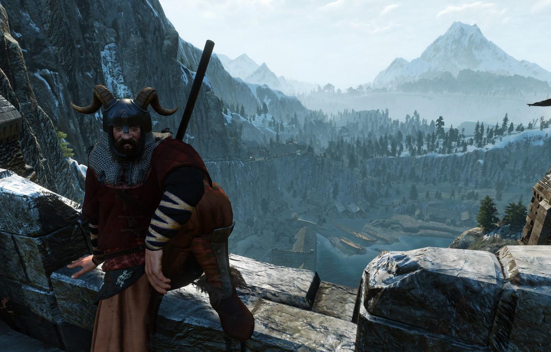 Photo wallpaper Mountains, Castle, Warrior, Helmet, Horns, The Witcher, The Witcher, The Witcher 3 Wild Hunt, The …