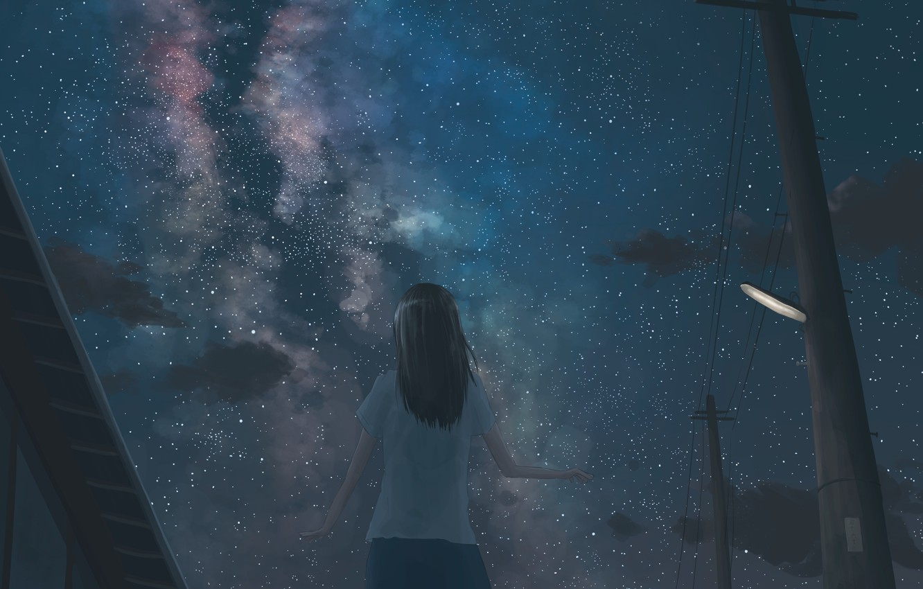 Photo wallpaper the sky, girl, night, the milky way