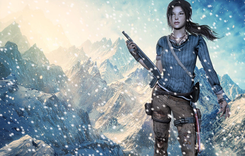 Wallpaper Girl Snow Weapons Tomb Raider Lara Croft
