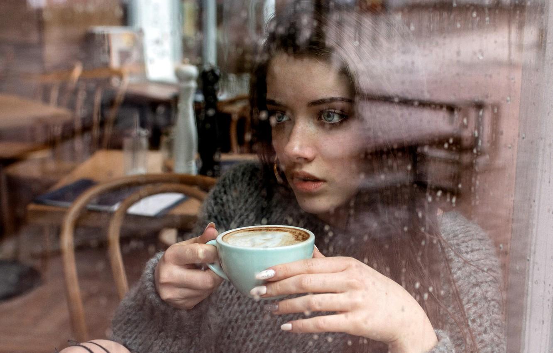 Photo wallpaper Girl, rain, long hair, blue eyes, model, cup, mood, water drops, bokeh, window, lips, face, …