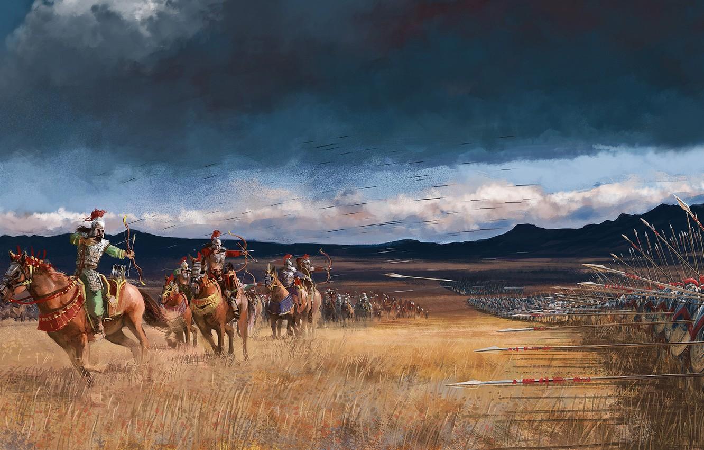 Photo wallpaper battle, the battle, arrows, warriors, riders, battlefield, spears, Kelvin Liew, Arrow Storm