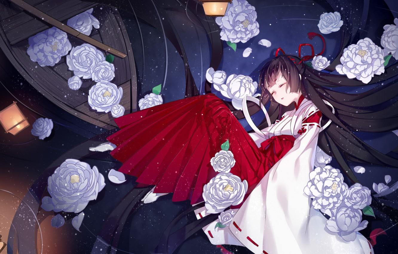 Photo wallpaper girl, flowers, lies, yanye