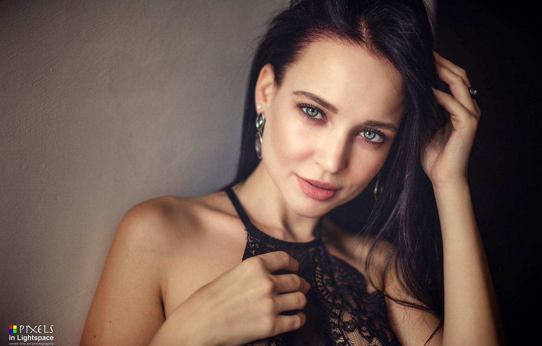 Photo wallpaper look, sexy, pose, model, portrait, makeup, brunette, hairstyle, beauty, in black, bokeh, Angelina Petrova, Angelina ...