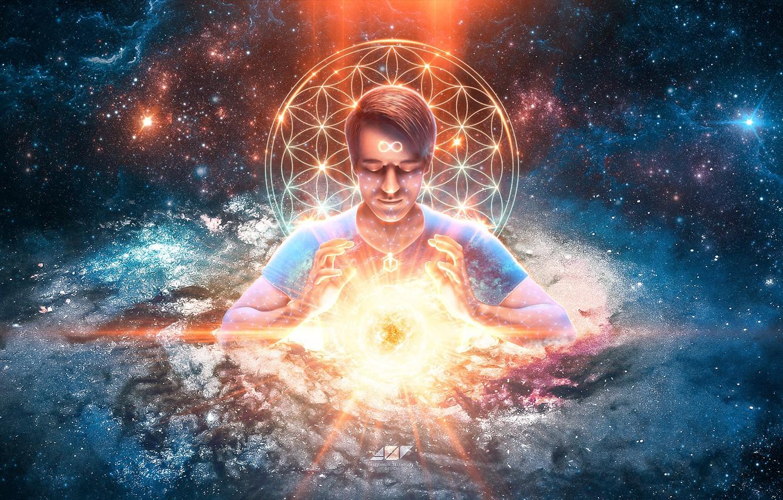 Photo wallpaper energy, the sun, space, light, serenity, calm, star, depth, spirit, stars, meditation, galaxy, space, light, …