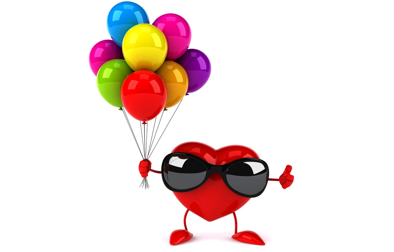 Photo wallpaper balloons, heart, colorful, glasses, red, heart, funny, rendering, balloons, sunglasses, 3D Art