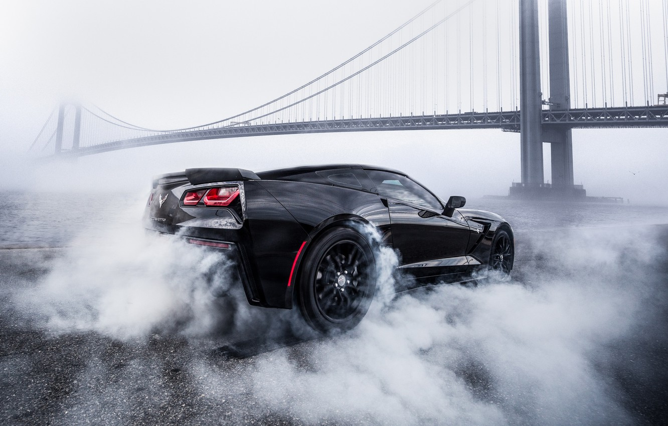 Photo wallpaper bridge, smoke, Corvette, Chevrolet, black, smoke, Chevrolet Corvette