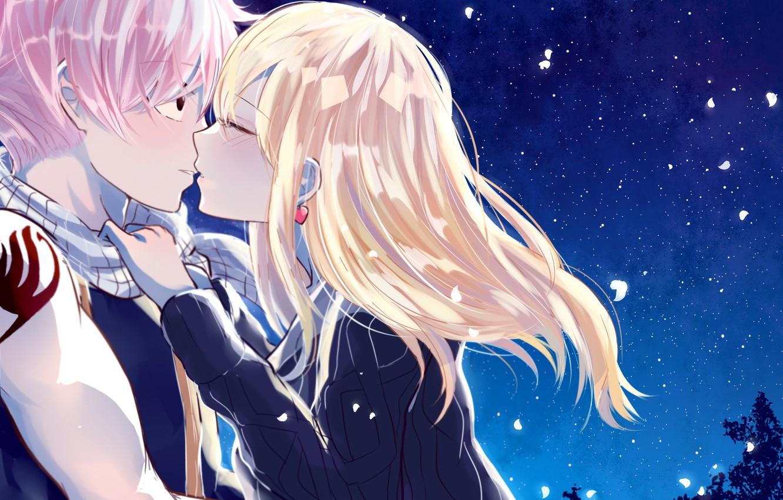 Photo wallpaper love, anime, art, pair, fairy tail, Fairy Tail, Lucy, Natsu Dragneel